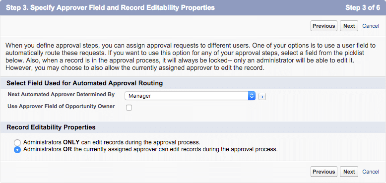 approval process step 3 approver field and record edit