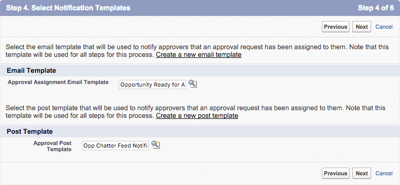 approval process step 4 notification templates