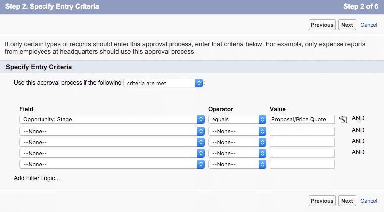 approval process step 2 entry criteria