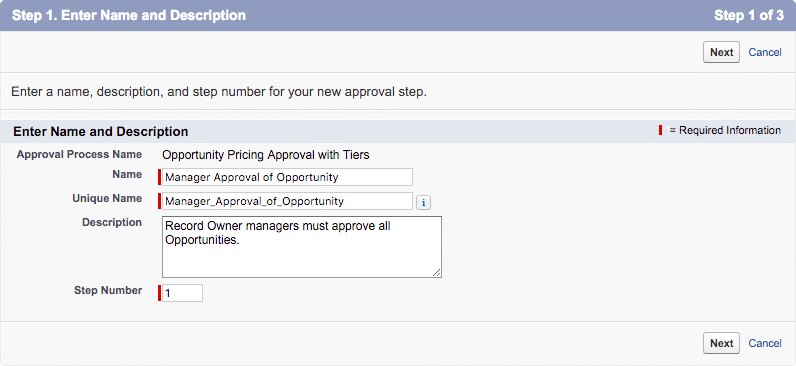 approval step 1 name and description