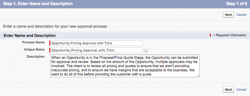 Approval Process Step 1 Name and Description
