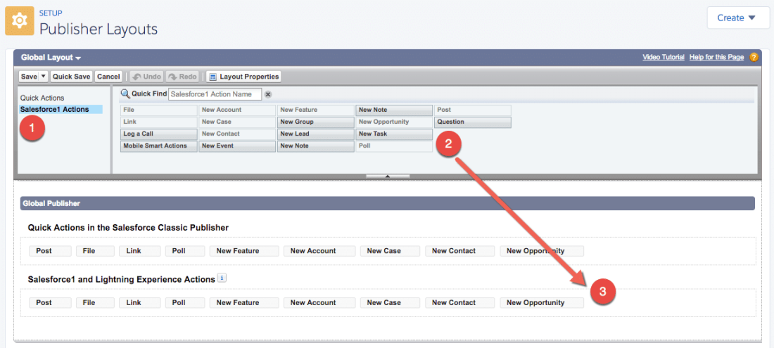 global actions editor
